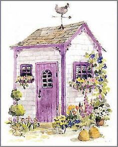 I think garden sheds should be this cute!  And surrounded by violets, June Crawford