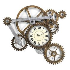 Steampunk Wall Clock ❤ liked on Polyvore