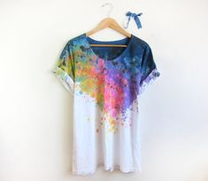 Splash dyed hand painted scoop neck tee