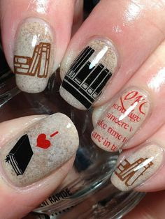book lovers, book worms, book nerd, nail designs, book week, nail arts, reading books, public libraries, music books