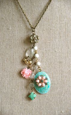Lola shabby chic floral locket necklace by tiedupmemories on Etsy, $42.00