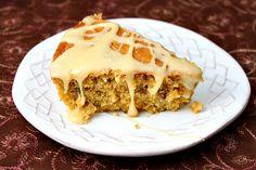 Pumpkin Pecan Skillet Cake with Salted Butterscotch Glaze