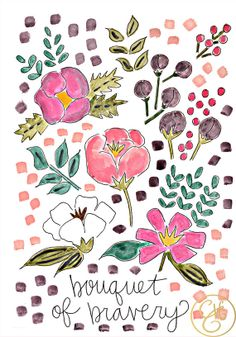 Bouquet of Bravery Print by EvelynHenson on Etsy