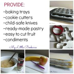 An invitation to create in the kitchen.  Cooking exposes kids to sensory experiences, art, math, and even Science.  It also gives them the chance to be creative!