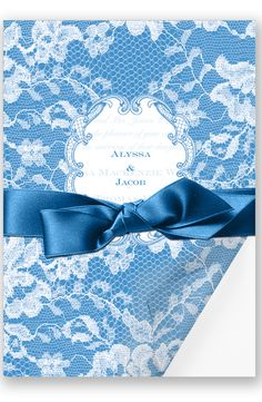 Lace Wrap Wedding Invitation in Cornflower by David's Bridal | Follow us and start pinning pretty paper options - from invitations and save the dates to programs and table numbers - for a chance to win $1,000 to InvitationsbyDavidsBridal.com. Enter here: http://sweeps.piqora.com/rsvpready