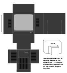 """Small Stuff's PrintMini: Printable Dollhouse Miniatures & Printies  1"""" Scale Appliances: tv"""