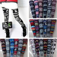 under $5!!!! Autumn Warm Winter Women's Nordic Deer Snowflake Knitted Leggings Tights Pants