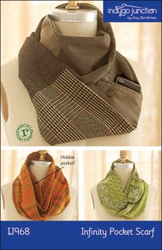 Cool Pattern for infinity scarf with pocket. Can use the back pocket on a mans pair of pants.