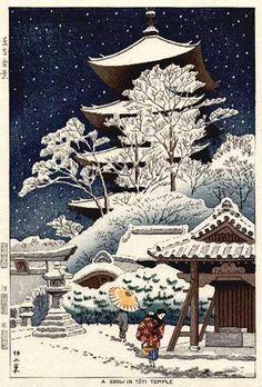 Snow at Toji Temple by Takeji Asano, 1953
