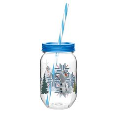 Plastic Canning Jar Tumbler with Straw
