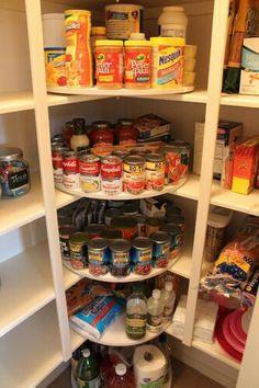 Lazy susans in pantry corner