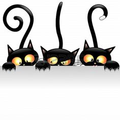 Funny Black Cats Cartoon with White Panel