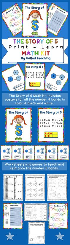 The Story of 5 Math Kit >> Teach number 5 bonds using posters, games, and worksheets >> United Teaching >> Common Core Standards - CCSS.Math.Content.K.OA.A.3 - CCSS.Math.Content.1.OA.A.1