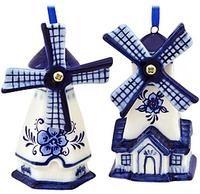 Set Of 2 Blue Delft Windmill Ornaments     $7.99