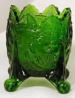 Old Sleepy Eye Toothpick Holder Emerald Green Glass