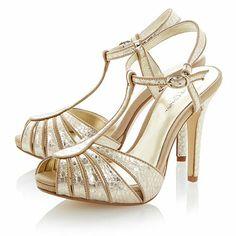 Jive Swirl Pattern Gold Heel Shoes