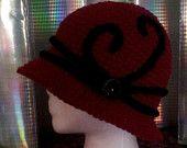 Women's Burgundy  Winter Hat From 1920s