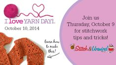I Love Yarn Day Google+ Hangout with Underground Crafter - live event, Thursday, October 9, 2014 at noon Eastern!