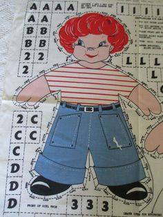 "Vtg Cut Sew Craft Panel ""Name It Yourself Twins"" Personalized Boy Girl Doll 