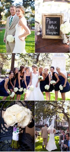 Pretty much love everything about this wedding. Various navy blue bridesmaid dresses.