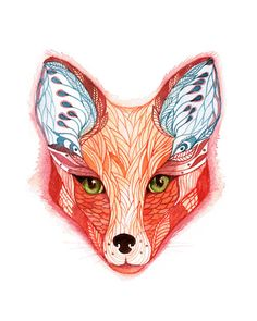 Watercolor red fox by Ola Liola