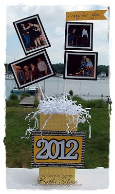 Graduation centerpiece - cool idea to add photos of the grad to personalize any centerpiece.