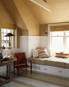 Paint colors are cohesive and enhance this attic room - by Steven Gambrel