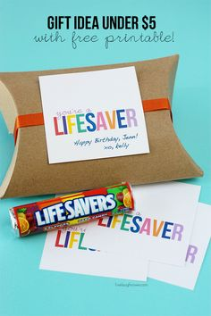 Remind your friend what a lifesaver they are with this gift idea for under $5.  FREE Printable at livelaughrowe.com