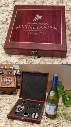This Personalized Wine Box Wine Accessory Gift Set is the perfect wine lover gift.