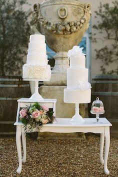Duo of white wedding cakes