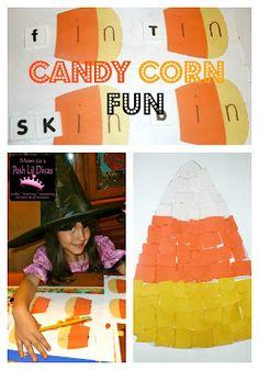 Candy Corn Learning fun - word families, math and torn paper art #kindergarten #preschool