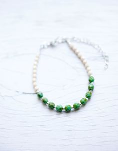 Opaque Green Turquoise Picasso & Opaque Champagne Luster faceted Glass Bead Bracelet