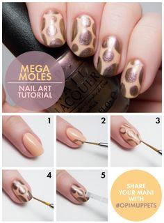 nail art tutorials, polka dots, nailart, nail arts, nail tutorials, the muppets, nail design, mega mole, polka dot nails
