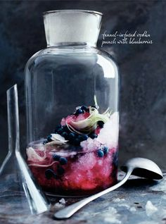 Fennel Infused Vodka Punch with Blueberries