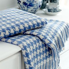 Blue and White Houndstooth Throw - Cologne & Cotton blue houndstooth, blanket, white houndstooth, color combos, blue decor, soft colors, blue throw, houndstooth throw, blues