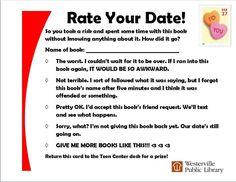 Teens: Check out a book blind date and then rate your date when you're finished.