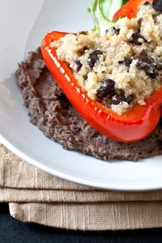 stuffed peppers with black bean crema. absolutely delicious and very easy to make.