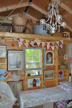 Tour this shed of 3 Pixie Lane - as beautiful as any home - look at that chandelier!  eclecticallyvinta...