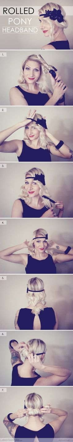 DIY Rolled Ponytail Headband Hairstyle - hair-sublime.com