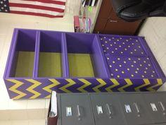 Chevron and polka dot bookshelf for the classroom