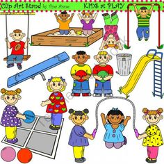 Clip Art Kids at Play Combo  from ClipArtStand by Tina Anne on TeachersNotebook.com -  (40 pages)  - A unique collection of kids at play graphics for crafts, lesson plans, and work sheets.  Use for personal and commercial products.