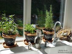 I want a window herb garden & this is a great idea!  Love the chalkboard pots too!