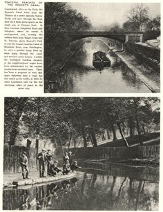 "Captioned: ""Magazine print of photos taken at #Regents Park & the entrance to #Cumberland #Basin"" #regents #canal #narrowboat #barge #london"