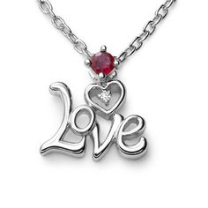 "Ze Sterling Silver Ruby/Diamond ""Love"" Necklace. « Holiday Adds"