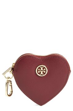 The cutest heart-shaped Tory Burch coin purse! Love this.