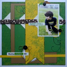 Havin' A Ball - Scrapbook.com  This football layout was created with the Tennis Collection from Moxxie