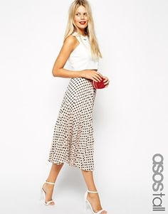ASOS TALL Spot Print Pleated Midi Skirt