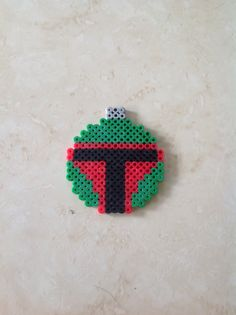 Boba Fett Star Wars Christmas ornament perler beads by Heather Bergstedt