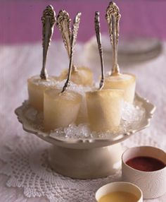 "Champagne Popsicle with silverware ""sticks""!"