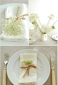 Queen Anne's lace table top decor details for a wedding with vintage romance